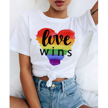 Donne Lgbt Amore Vince Femminile Bisessuale Lesbiche Gay Amore È Love T Shirt Le Donne Lesbiche Arcobaleno Top Tshirt Tee Kawaii femme Camicette(China)