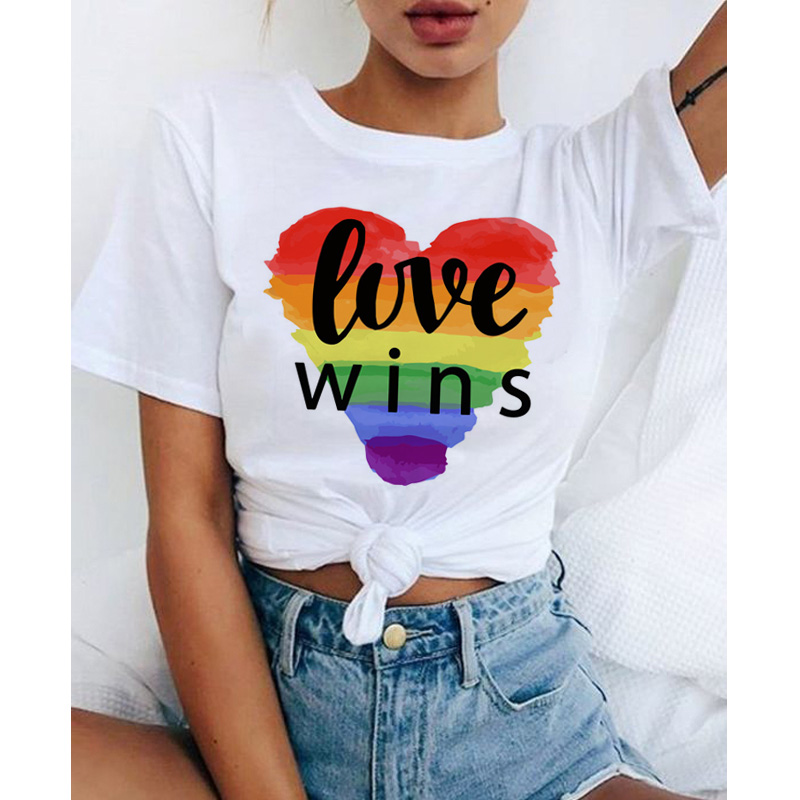 Women Lgbt Love Wins Female <font><b>Bisexual</b></font> Lesbian Gay Love Is Love <font><b>T</b></font> <font><b>Shirt</b></font> Women Lesbian Rainbow Top Tshirt Tee Kawaii Femme <font><b>Shirts</b></font> image