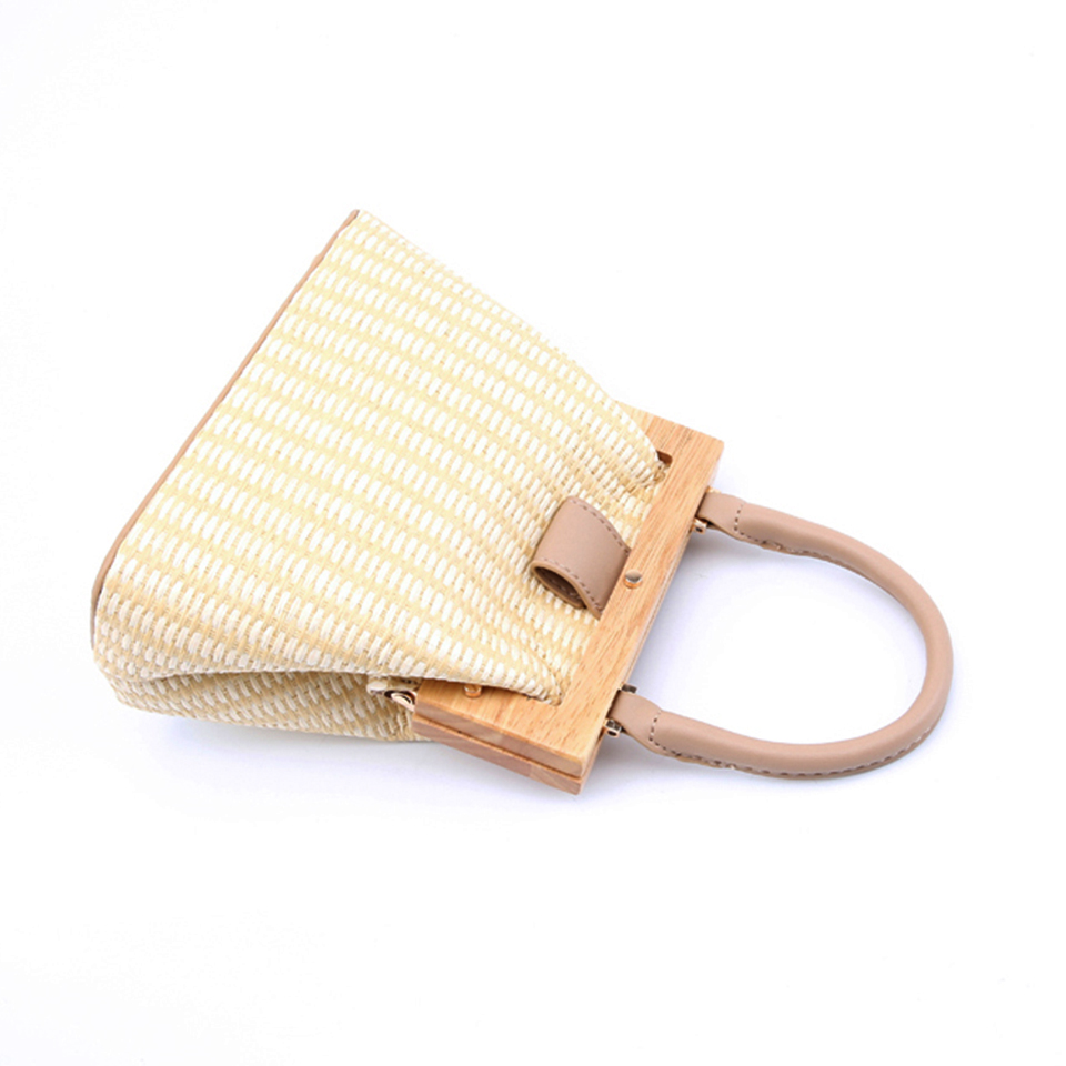 Oswego Straw Bag 2019 New Fashion Wooden Clip Women Shoulder Bag Summer Travel Beach Bag Luxury Handbags Women Bags Designer 7