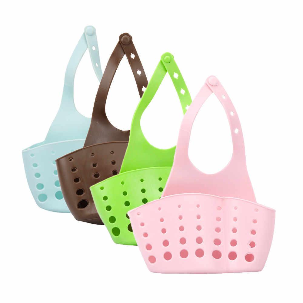 Cestas portátil cozinha em casa pendurado dreno saco cesta ferramentas de banho pia titular popular útil bonito armazenamento