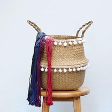 Новый складной органайзер корзина для хранения складной плетеная ротанговая Корзина Корзины сад плетеная корзина-горшок для цветов корзина для белья