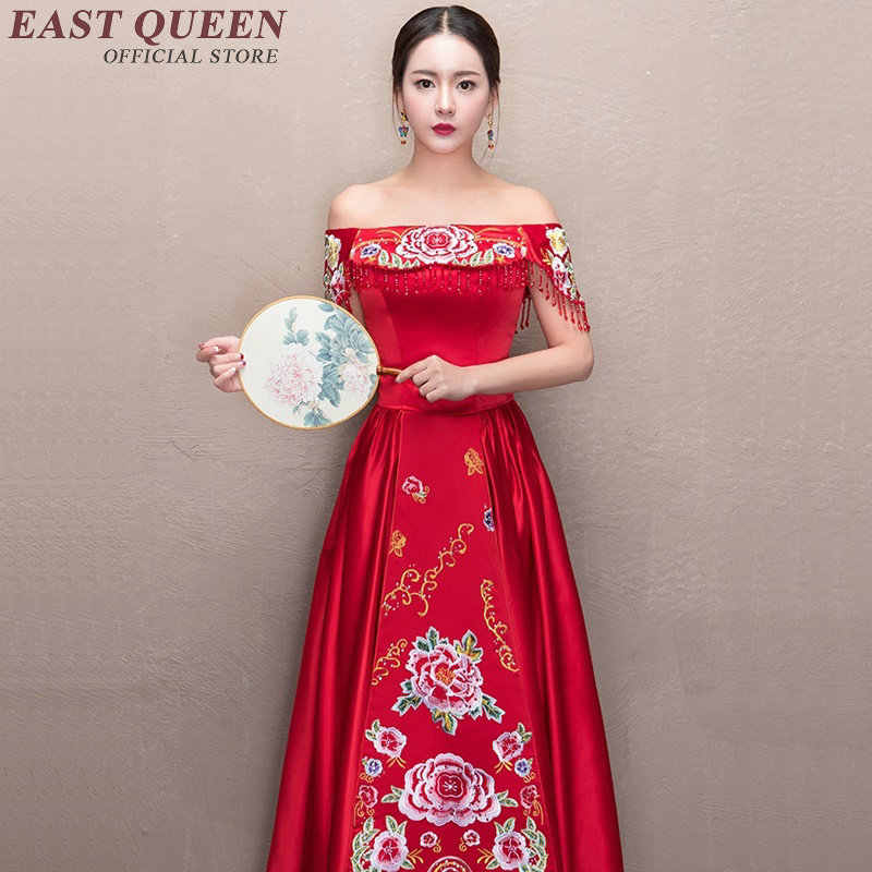 中国ウェディングドレス花嫁介添人ドレス結婚式ショルダーヴィンテージの伝統的な中国のウェディングドレス AA2699 YQ
