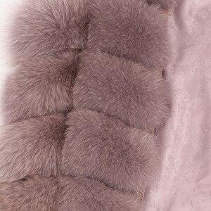Image 2 - Maomaokong 100% שועל פרווה אפוד נשים אמיתי טבעי כל שועל פרווה מעיל 90CM ארוך חורף פרווה מעיל חזייה בתוספת גודל 4XL