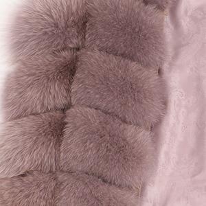 Image 2 - maomaokong 100% Fox Fur Vest Women Real Natural Whole Fox Fur Coat 90CM Long Winter Fur Jacket Waistcoat Plus Size 4XL