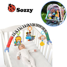 Sozzy Baby Stroller / Bed / Crib ჩამოკიდებული სათამაშოები სათამაშოებისთვის, კატები ტრიალებს სავარძელში cute plush Stroller მობილური საჩუქრები 88CM Zebra Rattles