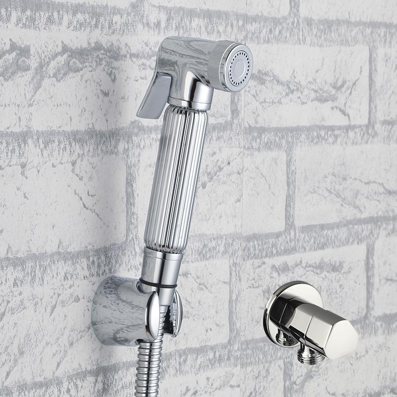 Brass Toilet Hand Held Bidet Spray Diaper Shower Sprayer Set Portable Shattaf Jet Douche kit &Angle Vlave & Hose & Holder-12