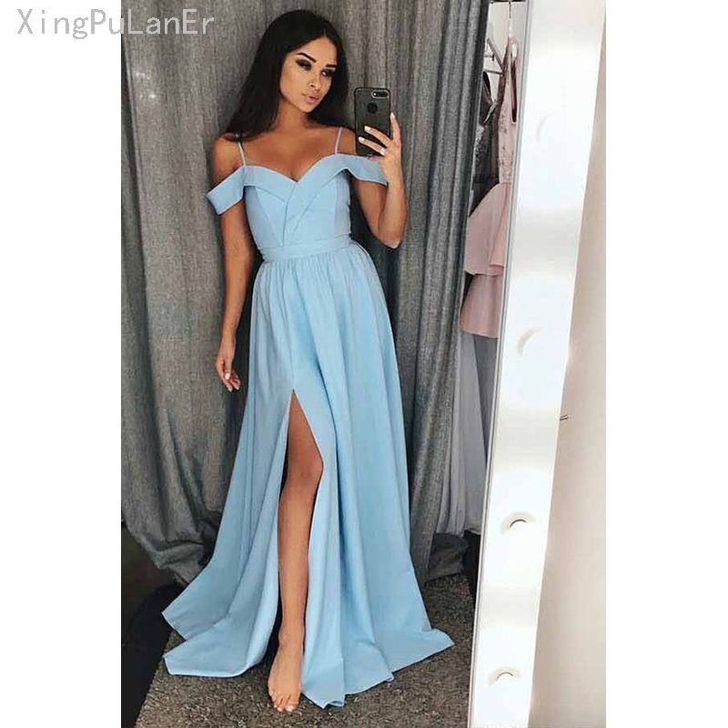 Simple Light Sky Blue Long   Prom     Dresses   New Split Side Floor Length Off The Shoulder Formal Evening   Dress   Party Gowns