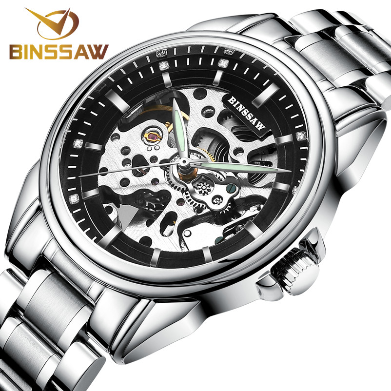 BINSSAW Men Original Luxury Brand New Watch Fashion Leather Automatic Mechanical Hollow Business Gold Watch Relogio