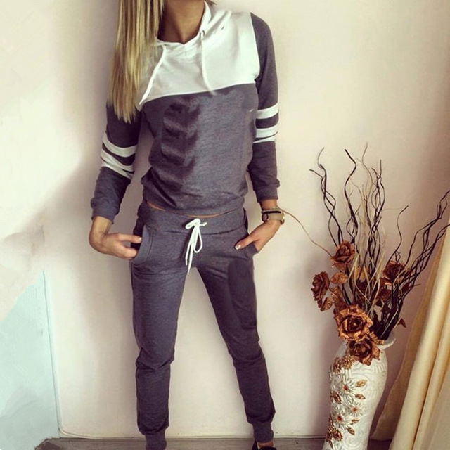 Free Shipping 2016 Autumn Winter Women Two pieces set Patchwork Tracksuit Female Warm Thicken Sweatshirt And Long Pant Set