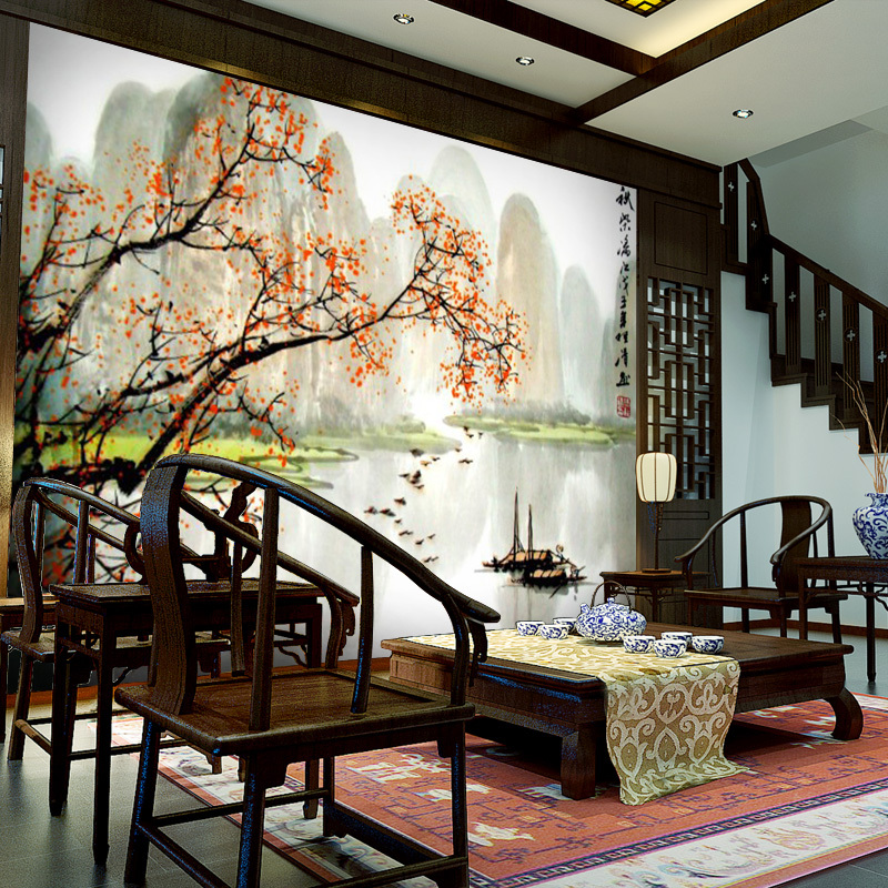 oriental living room furniture. Free shipping Chinese living room sofa TV background wallpaper mural  painting Guilin Scenery seamless Custom Size in Wallpapers from Home Improvement on