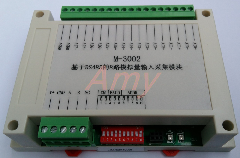 M-3002 Modbus Based 8 Channel Voltage / Current Analog Input Module Plug And Pull Terminal