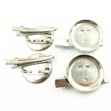 Brooches With Clip Round Alloy Cabochon Cameo Frame Setting Jewelry DIY Making Findings ( Base 29mm) 44mm 10Pcs Silver Tone недорго, оригинальная цена