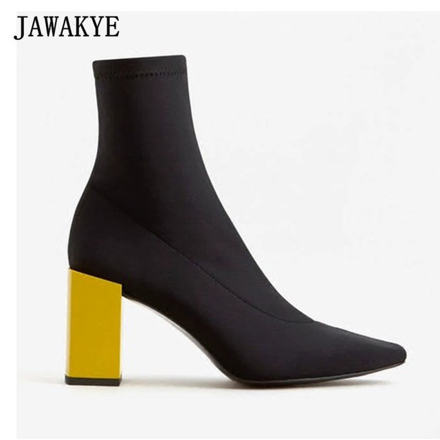 2017 Black Stretch Sock Boots Women Square Toe Yellow Chunky High ...