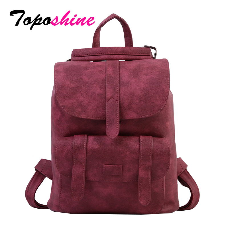 Toposhine Women Backpack Bag School-Bags Girls Fashion Lady Hasp PU 1523 Female Soft