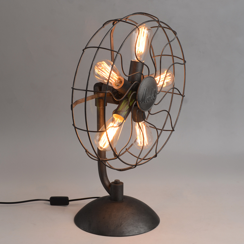 ФОТО Creative design fan lamp table lamp for living room country style bedside lamp for bedroom with base type of E27