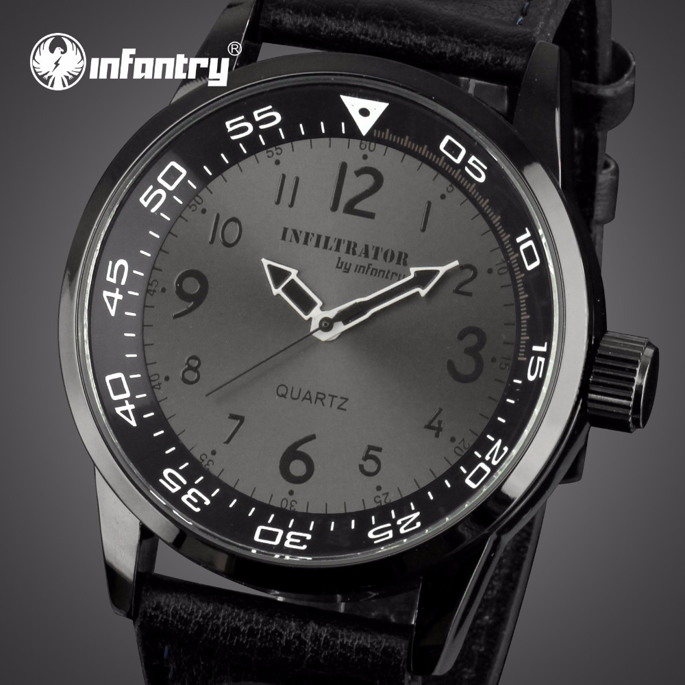 INFANTRY Mens Analog Quartz Wrist Watch Top Brand Luxury Black Leather Band Army Sports Watch 12 Hrs Display Relogio Masculino watch men leather band analog alloy quartz wrist watch relogio masculino hot sale dropshipping free shipping nf40