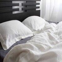 Oxford Pure Washed White Linen Duvet Cover Set Linen Bedding Set Queen Duvet Covers Pillow case Pillowcase Pillowcases 3pc