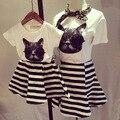 2016 de la familia arropa sistemas juego de madre e hija conjunto de algodón de manga corta para camisetas de rayas moda vestidos madre hija