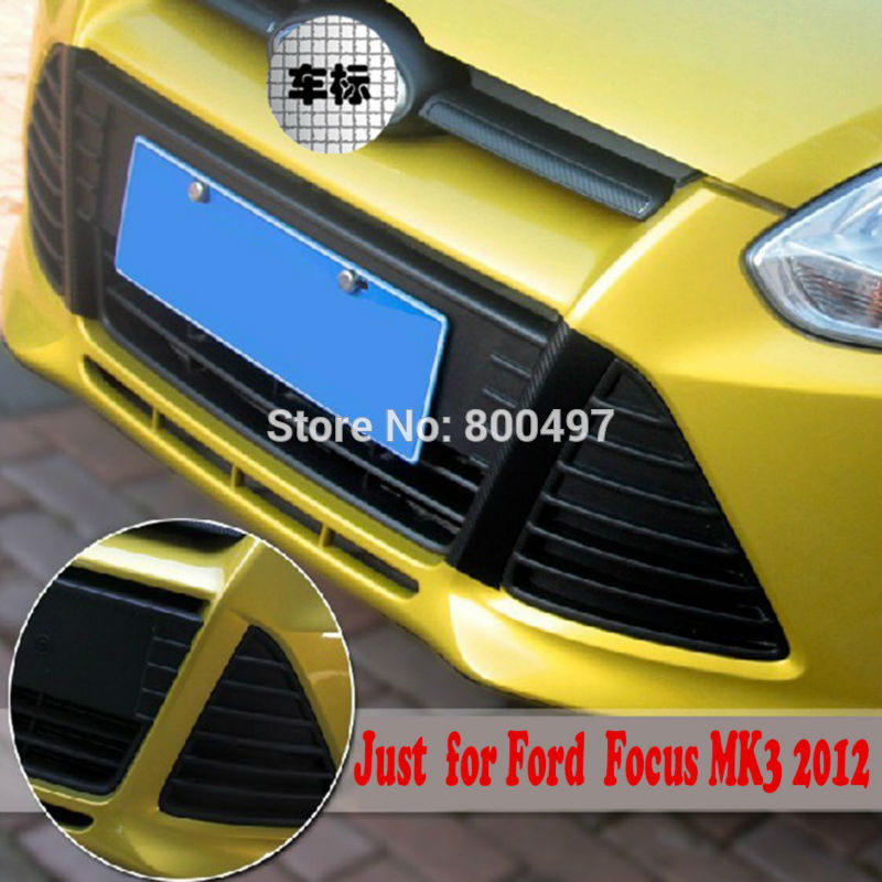 New Styling Carbon Fiber Vinyl Sticker Grill Decoration Sticker For Ford Focus MK3 2011 2012