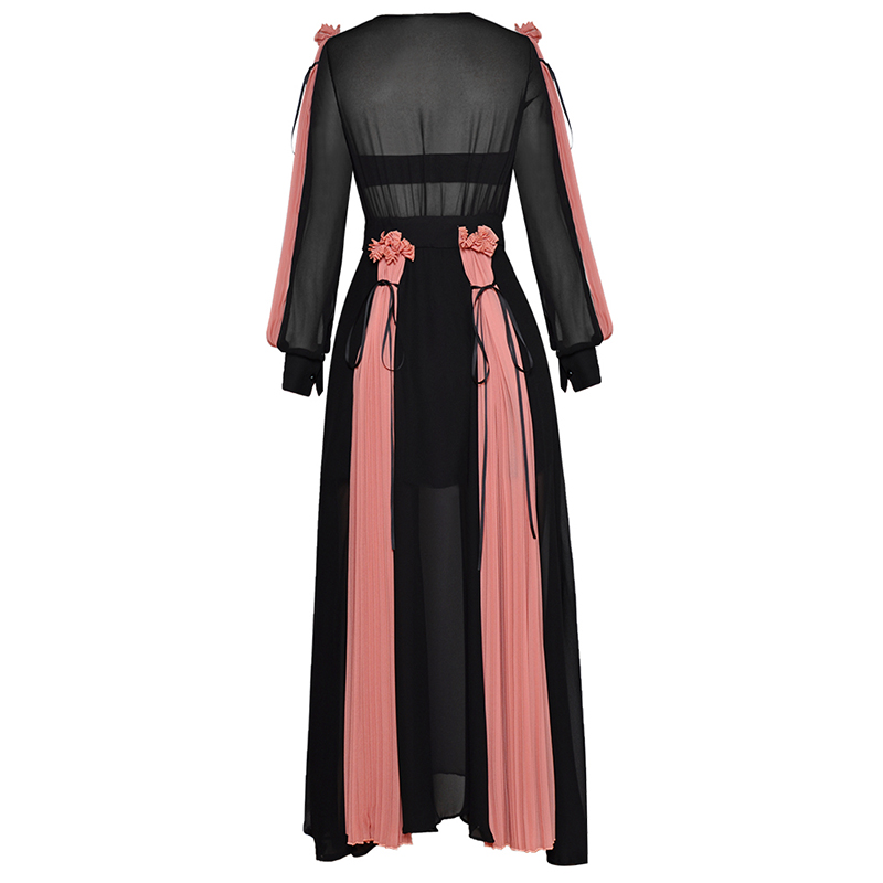 HIGH QUALITY Newest Fashion 2019 Designer Runway Maxi Dress Women's Lantern Sleeve Charming Color Block Pleated Long Dress
