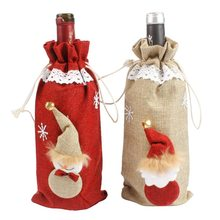 Hoomall Natural Jute Red Wine Bottle Cover Bags DIY Christmas Decoration For Home Navidad Snowman Table New Year Dinner Party