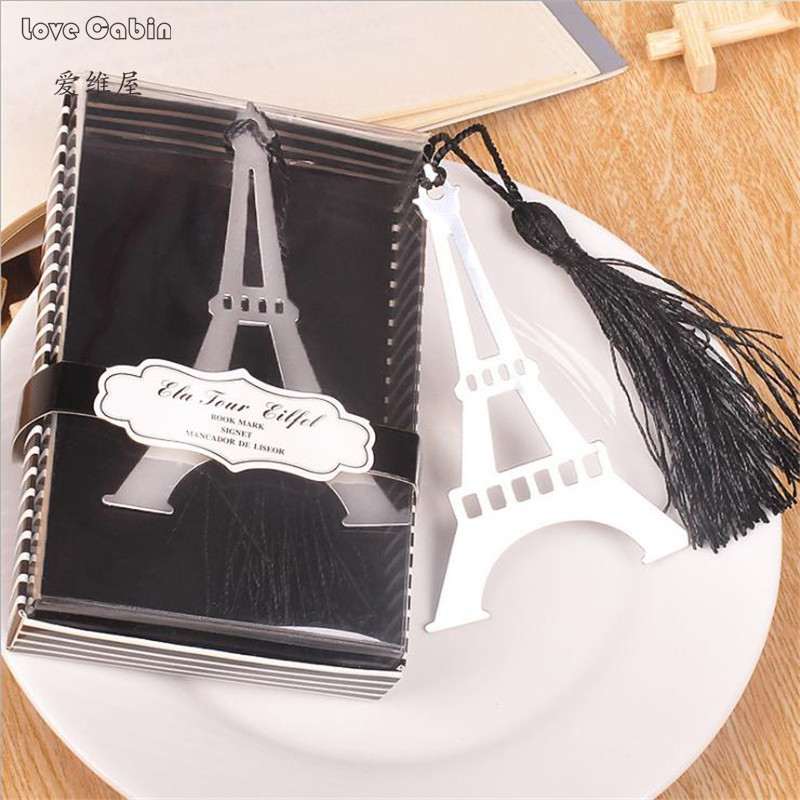 Romantic Eiffel Tower Bookmarks With Tassel Metal Bookmark Stationery Wedding Gifts Creative Item Kids Gift 50pcs