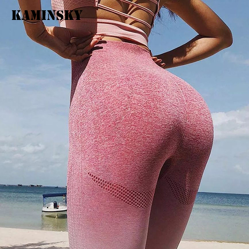 Kaminsky Seamless Leggings High Waist Sweat Pants Workout Leggings Scrunch Butt Leggings Gradient Sportswear Fitness Leggings