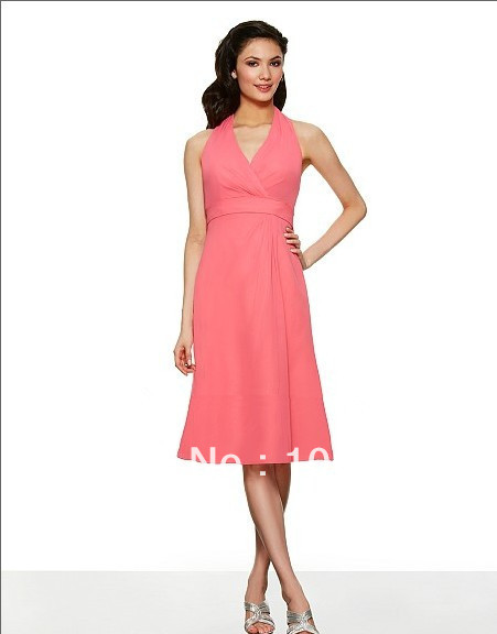 free shipping 2014 Poly chiffon knee length A-line v-neck keyhole back w/cascade empire waist couture chiffon   Bridesmaid     Dress