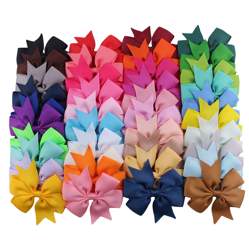 Yundfly 10pcs/lot Grosgrain Ribbon Hair Bow Clips Girls Boutique Bow Hairpin Baby Kids Hair Accessories