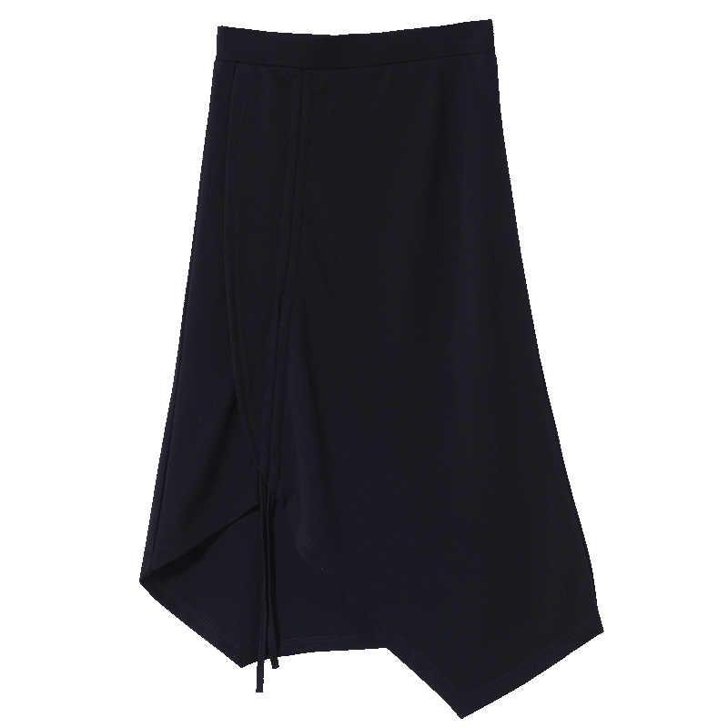 Mishow 2019 women  Summer Midi skirts Sexy Chic Pencil Skirts Women Knitted Skirt Drawstring black skirts MX19B1621