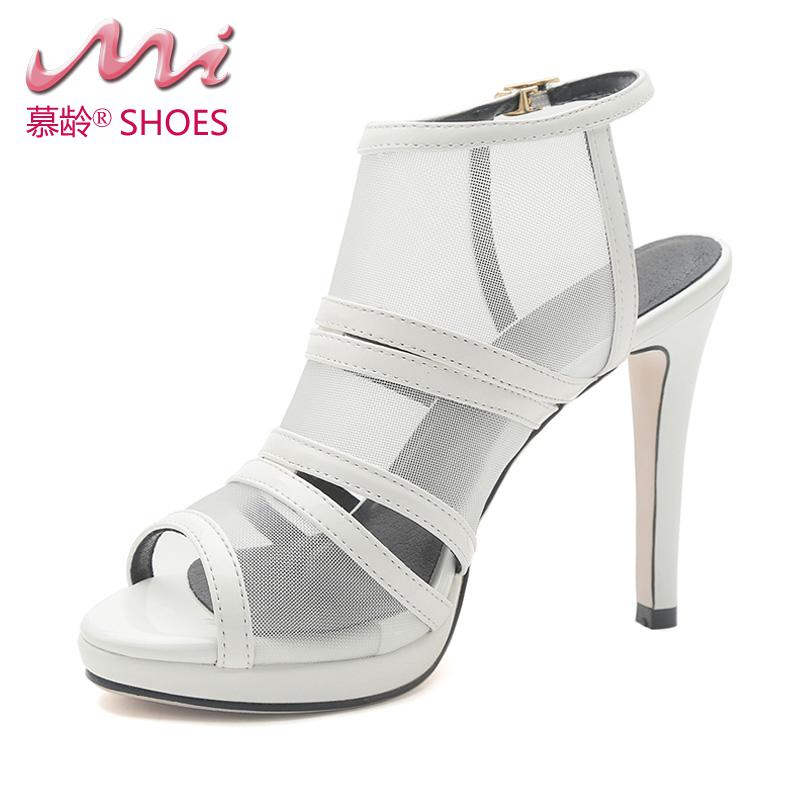 ФОТО Mesh sexy 2017 new summer sandals  Buckle Strap Super thin High heels women shoes Sandalias Mujer black white Pumps