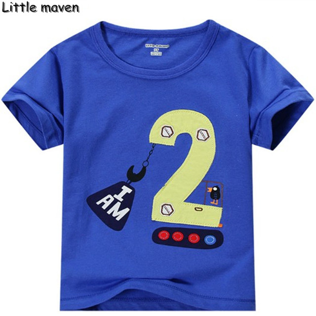 Little Maven Children Summer Baby Boys Clothes Educational Blue T Shirt Cotton Number 2 Printing Tee Tops Birthday Gift L093