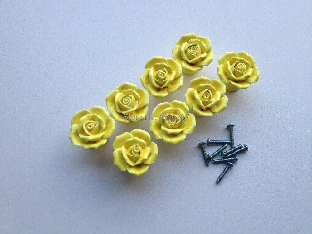 Дополнительный желтый Винтаж розы Керамика дверную ручку ящика шкафа Кухня шкаф ручек для DIY