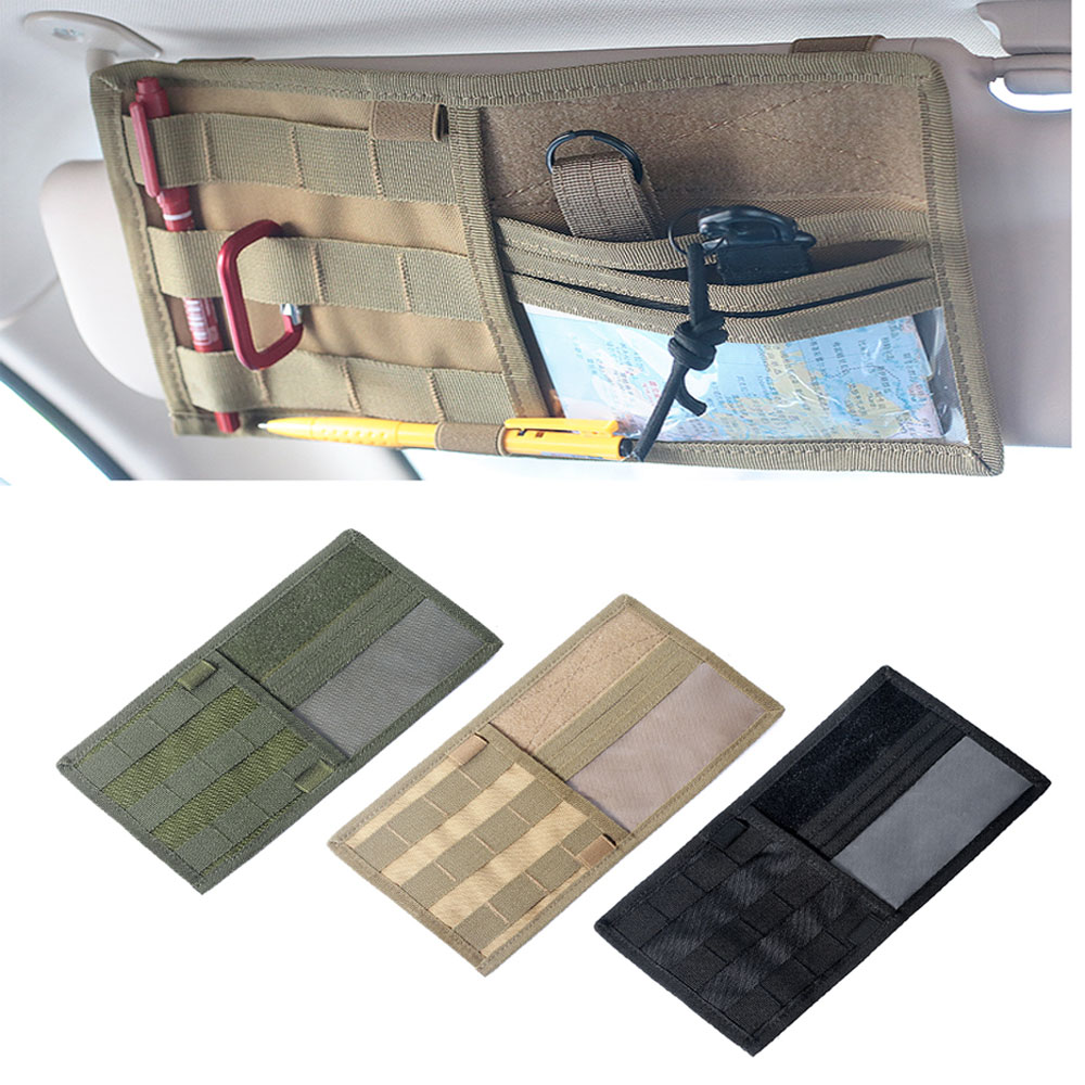 Tactical MOLLE Vehicle Visor Panel Truck Car Sun Visor Organizer CD Bag  Holder Pouch Auto Accessories