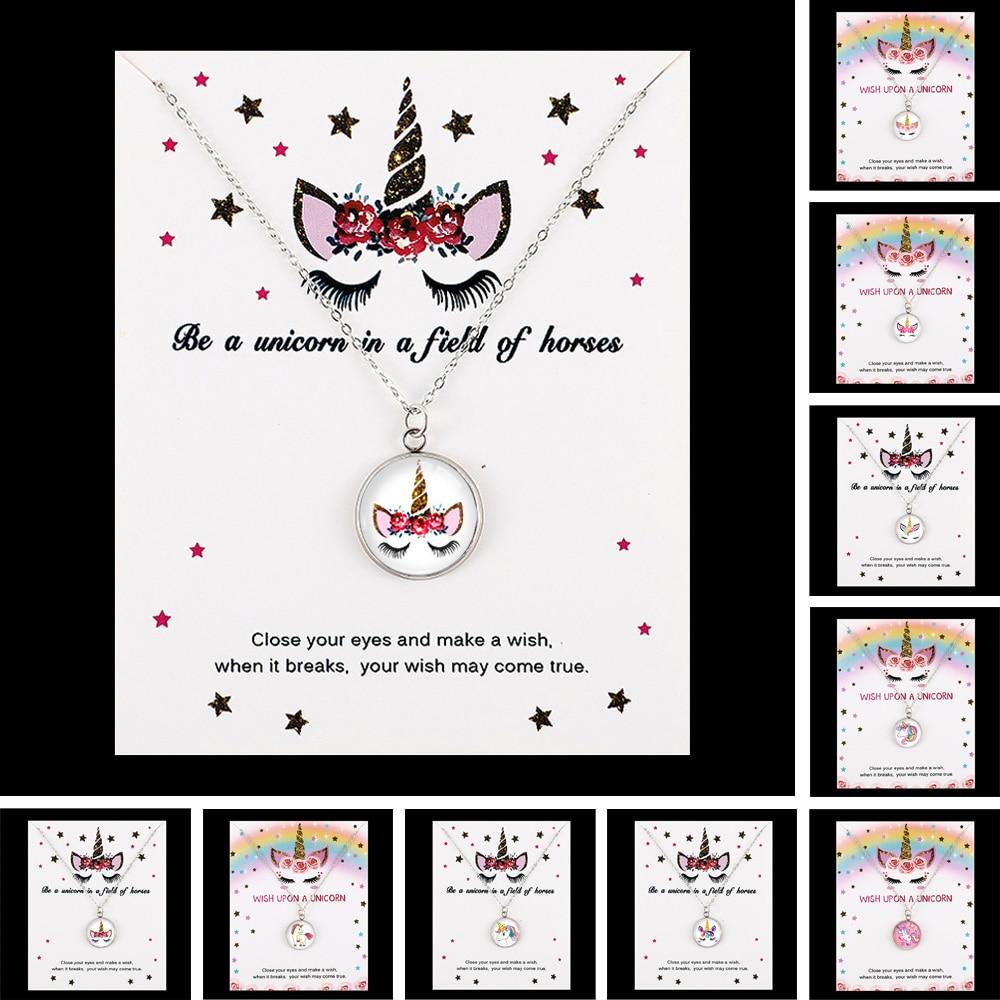 Unicorn Horse Pendants Necklaces Bee Honeybee Flamingos Mermaid 18mm Glass Cabochon Women Men Girl Jewelry Party Birthd Gift