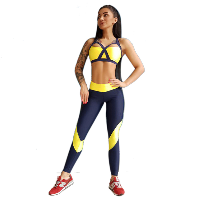 2 Pcs Sexy Gym Fitness Clothing Women Yoga Set