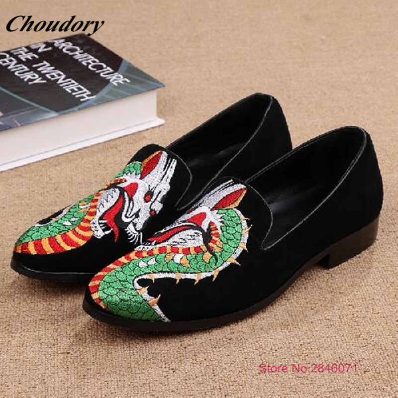New Elegant Animal Embroidered Mens Dress Shoes Dress Casual Spring Slip On Mens Loafers Comfortable Climbing Mens Dress Shoes