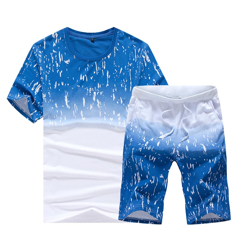 Mens Fitness Tracksuit Set 2019 Summer Sky Print Sporting Suit Men Shorts Sets Short-Sleeved Shirt +Shorts Casual Outwear