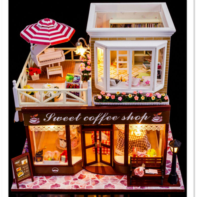 Sweet Coffee <font><b>Shop</b></font> DIY Wooden Miniatura Doll House with Furniture,New Arrival Creative Handmade Big Doll House Assembling Toys