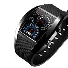 Men Fashion LED Sport Rubber Band Digital Week Date Dashboard Pattern Dial Watch