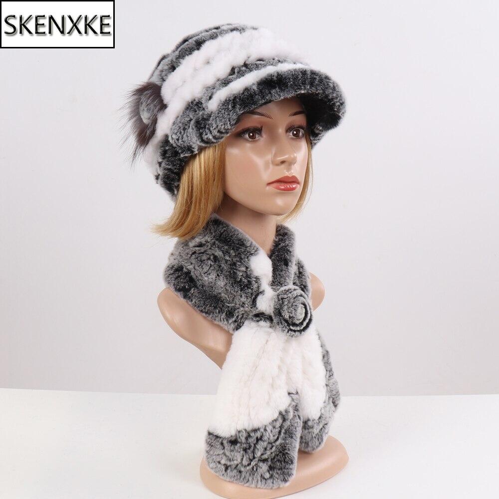 2020 New Fashion Girl Fur Cap Lady Winter Natural Real Rex Rabbit Fur Hat Scarf Suite Quality Women 100% Genuine Fur Hat Muffler