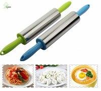YIHONG New Thép Không Gỉ Fondant Nhạc Rolling Pin Bánh Trang Trí Lăn Bột Nhựa Vòng Tay Cầm Công Cụ Nướng