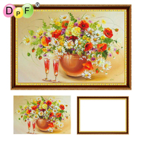 DPF Diamond Embroidery Flowers And Glasses With Frame Diamond Painting Cross Stitch Full Round Diamond Mosaic