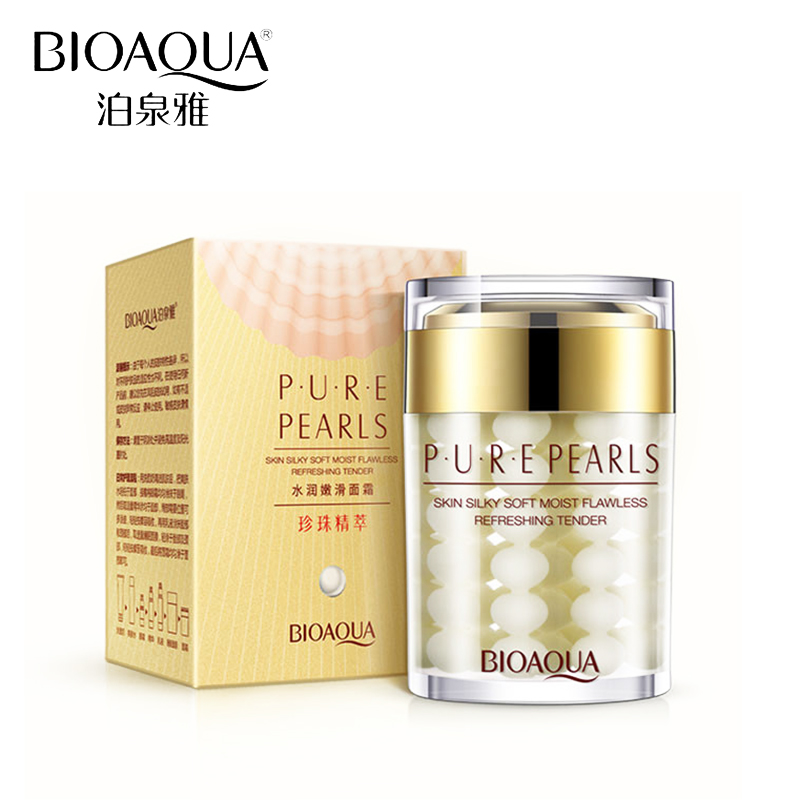 BIOAQUA Brand Pure Pearl Face Cream Hyaluronic Acid Deep Moisturizing Skin Care Anti Wrinkle Whitening Essence Cream Mask 60g 60g brand bioaqua silk protein deep moisturizing face cream shrink pores skin care anti wrinkle cream face care whitening cream page 7