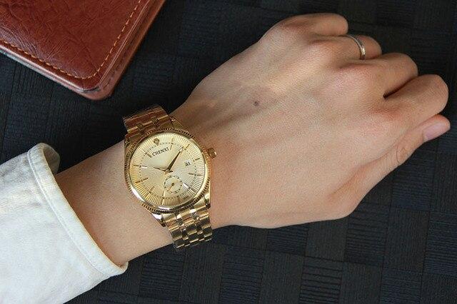 2017 CHENXI Gold Watch Men Luxury Business Man Watch Golden Waterproof Unique Fashion Casual Quartz Male Dress Clock Gift 069IPG