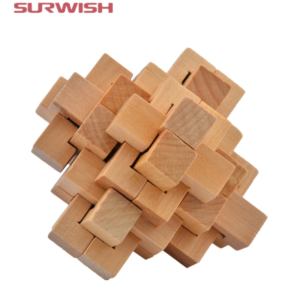 Surwish Classical Intellectual Wooden Cube Educational Toy Wooden Puzzle Brain Teaser,Kong Ming/Luban Lock for Adult Children metal puzzle iq mind brain game teaser square educational toy gift for children adult kid game toy