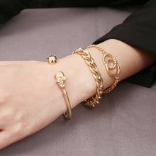 Simple and Creative Skull Handdress Girl  Personality Punk Metal Chain Bracelet