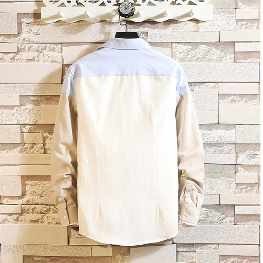 Casual Patchwork Shirt 2019 Spring Men Button Big Size Korean Style Clothes Summer Slim Fit Fashions Camisa Men Dress 50CS034 6