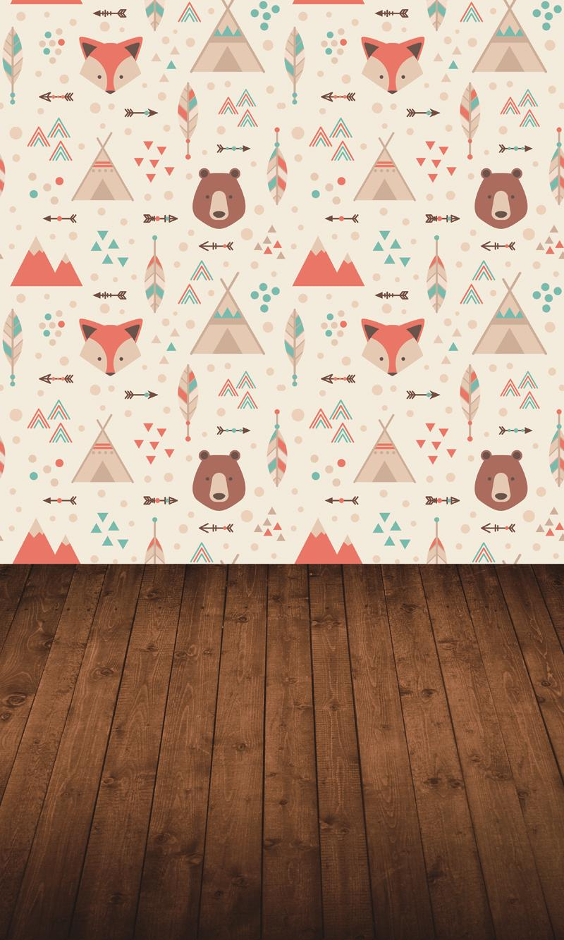 HUAYI cartoon fox wallpaper backdrop for photography brown wood floor vinyl backdrops background paper photo props XT-5119 retro background christmas photo props photography screen backdrops for children vinyl 7x5ft or 5x3ft christmas033