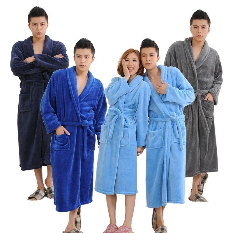 Autumn Winter Solid Couple Bathrobe Thicken Warm Flannel Bath Robes Plush Sleepwear Women Men Female Robe Nightgown M-2XL